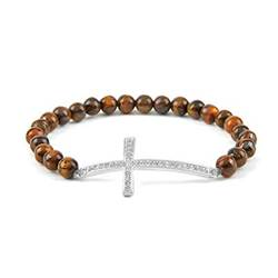 Tigers Eye Cross Stretch Gemstone Bracelet