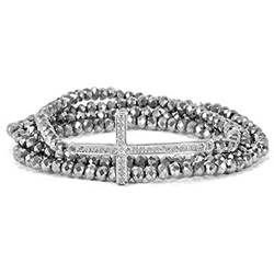 Silver Cross Stretch Wrap Bracelet