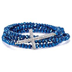 Blue Cross Stretch Wrap Bracelet