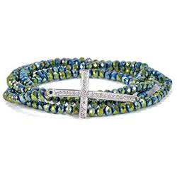 Green Cross Stretch Wrap Bracelet