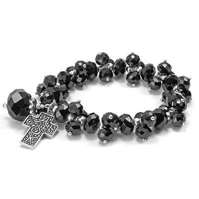 Black A.S.K. Stretch Bracelet