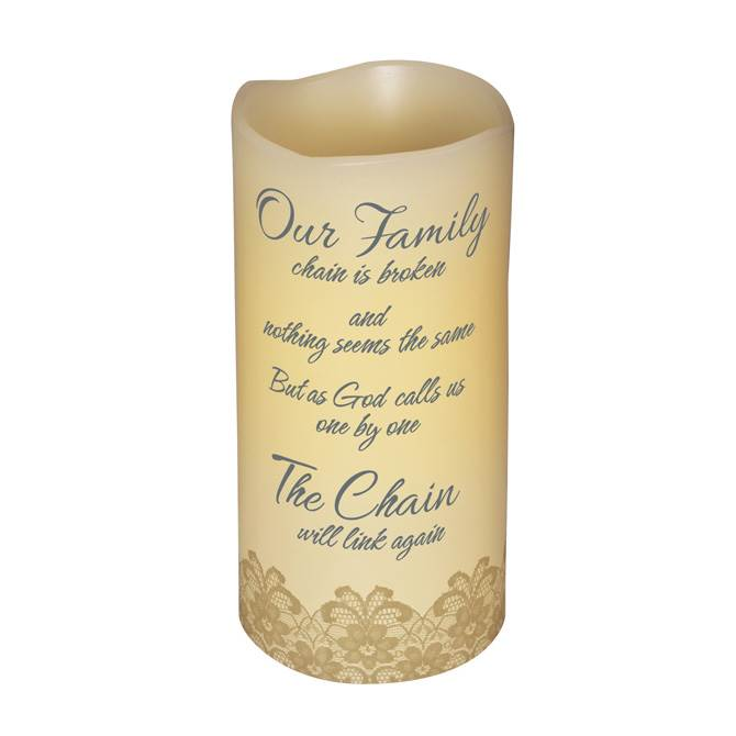 "6"" LED VANILLA SCENTED PILLAR CANDLE WITH TIMER-OUR FAMILY CHAIN LED, candle, LED candle, flameless candle, home d?cor, vanilla candle, message, inspirational candle,10409"