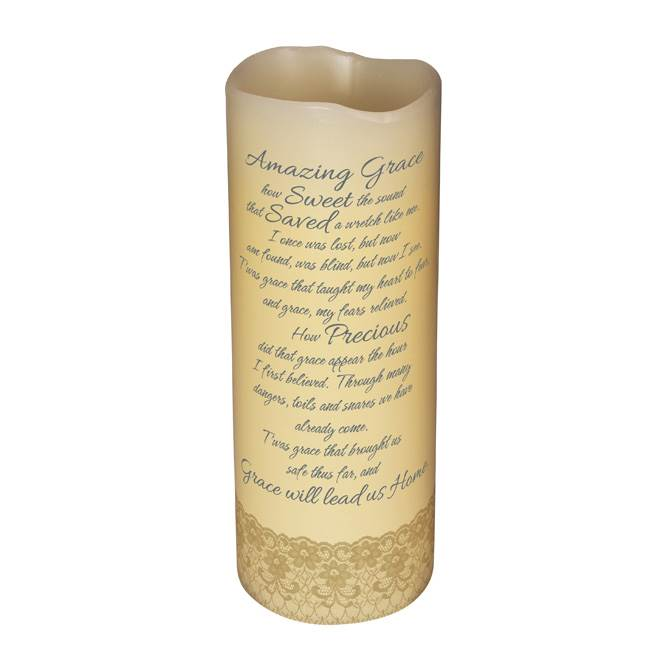 "6"" LED VANILLA SCENTED PILLAR CANDLE WITH TIMER-AMAZING GRACE LED, candle, LED candle, flameless candle, home d?cor, vanilla candle, message, inspirational candle,10403"