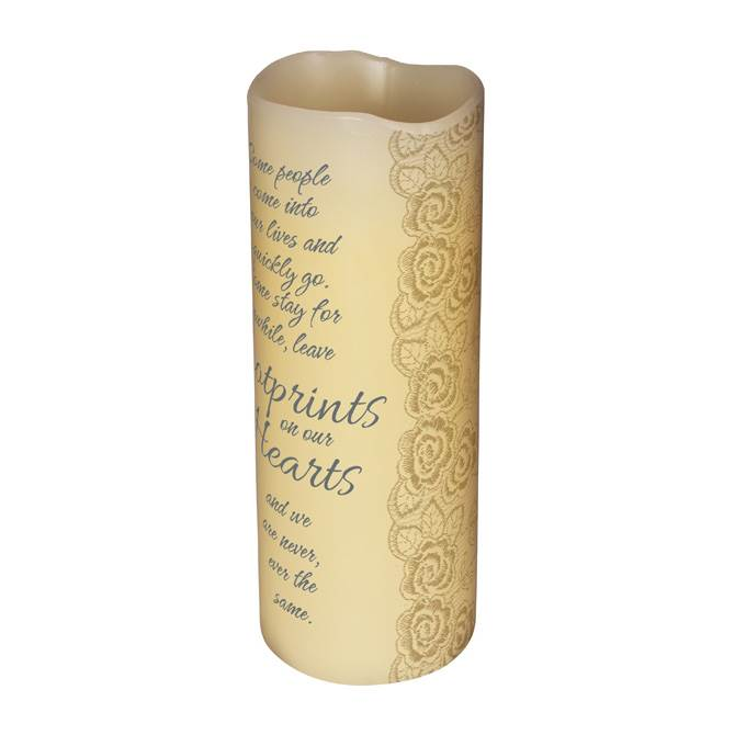 "6"" LED VANILLA SCENTED PILLAR CANDLE WITH TIMER-FOOTPRINTS LED, candle, LED candle, flameless candle, home d?cor, vanilla candle, message, inspirational candle,10404"