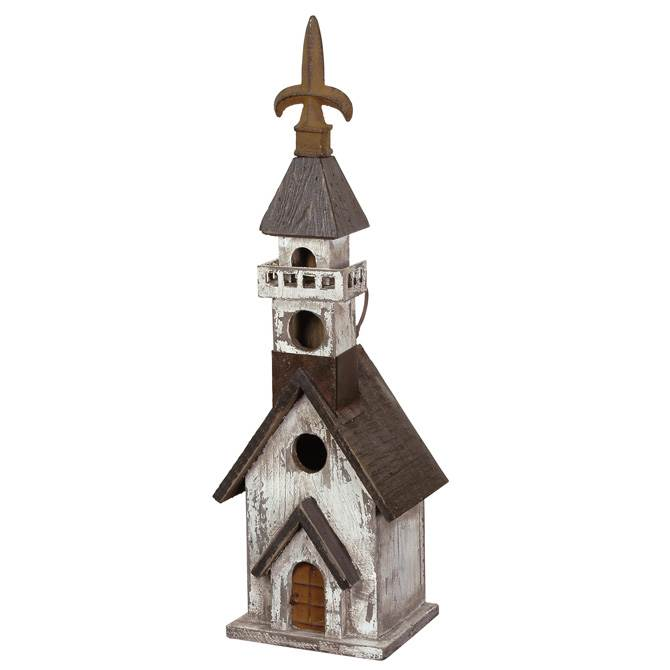 Black and White Church Birdhouse