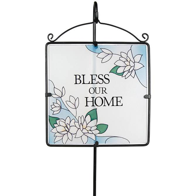 Bless our Home Glass Garden Stake