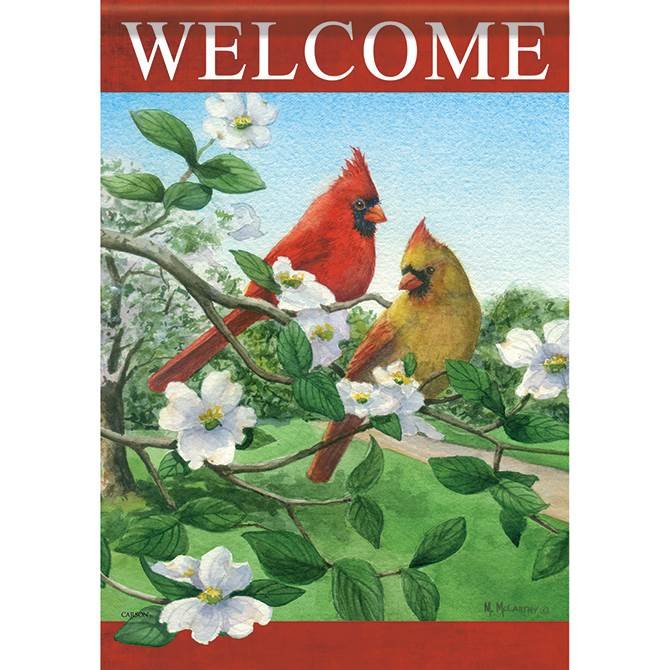 Cardinals on Dogwood Garden Flag