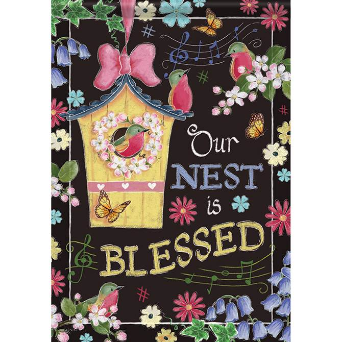 Blessed Birdhouse House Flag