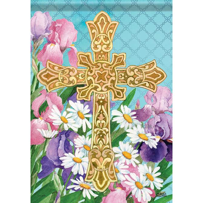 Easter Flower Cross Garden Flag