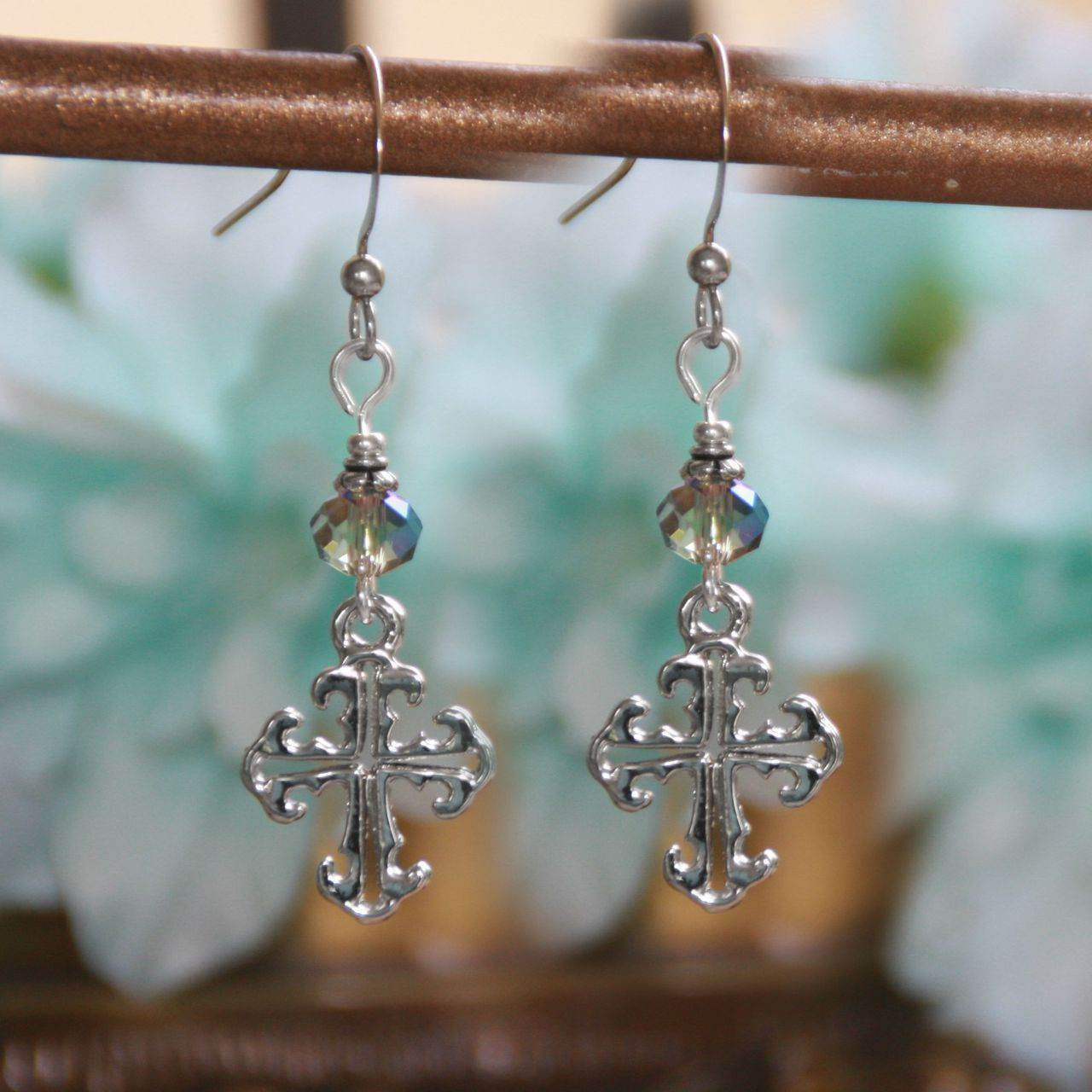 Lace Style Cross Earrings