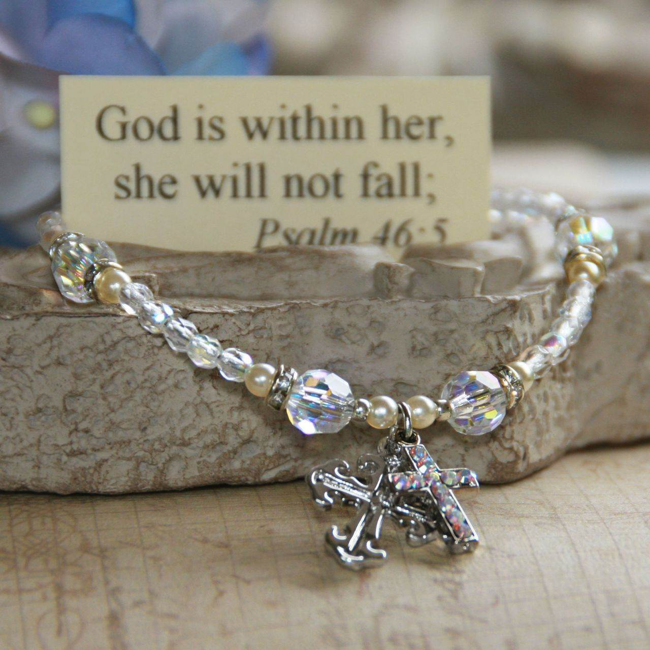 God is within her Cross Charm Bracelet