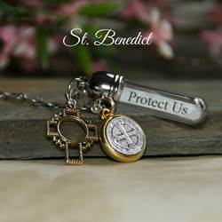 Protect Us St. Benedict Gold Message in a Bottle Necklace