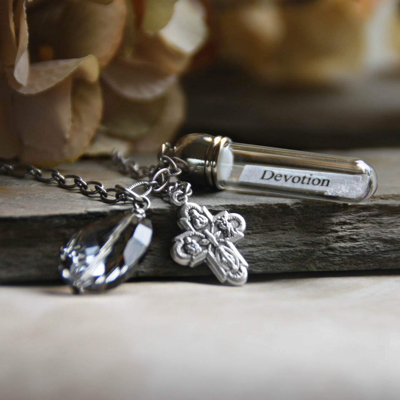 Devotion Message in a Bottle Necklace