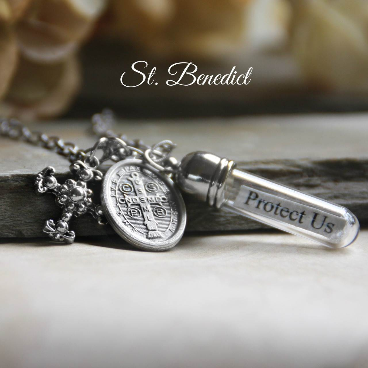 Protect Us St. Benedict Silver Message in a Bottle Necklace