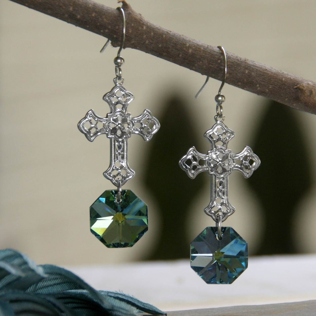Chandelier Crystal Cross Earrings