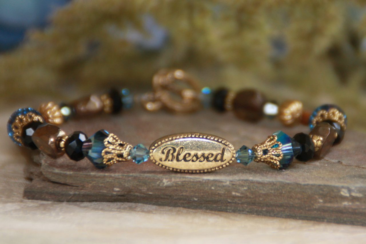 Blessed Blue Beaded Bracelet blessed bracelet, jewelry, bead bracelet, message bracelet, blue bracelet, in237