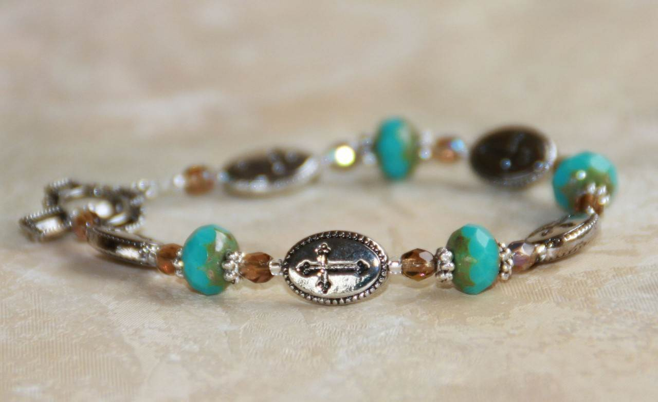 Turquiose Glass Cross Bracelet