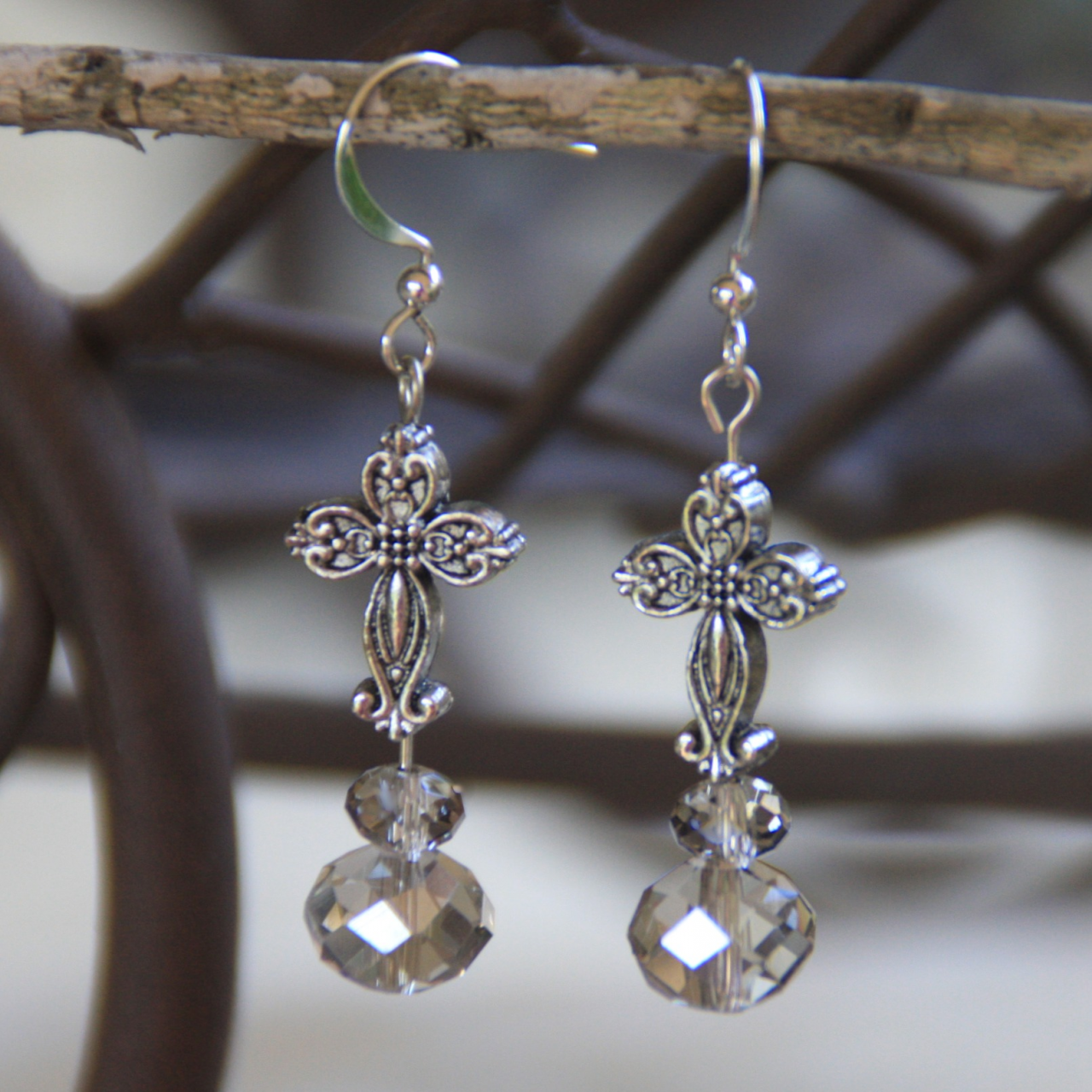 Platinum Crystal Cross Earrings