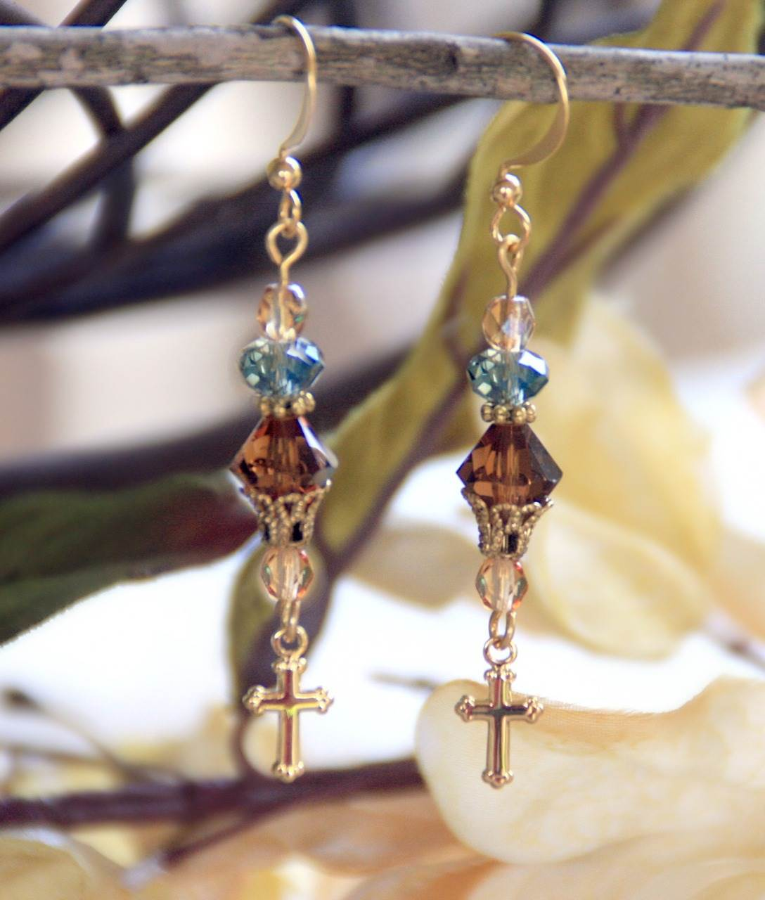 Crystal and Cross Drop Earrings