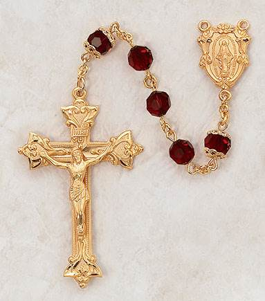 7MM Ruby Rosary- 24KT Gold over Sterling Silver
