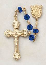 7MM Sapphire Rosary-24KT Gold Over Sterling Silver