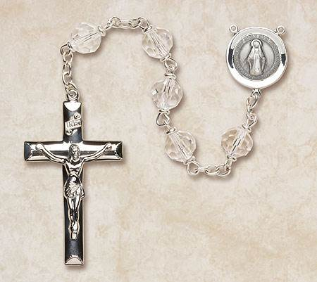 7MM Crystal Rosary-Sterling Silver