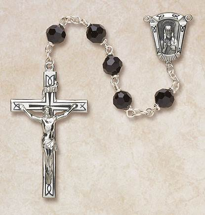 7MM Jet Crystal Rosary-Sterling Silver