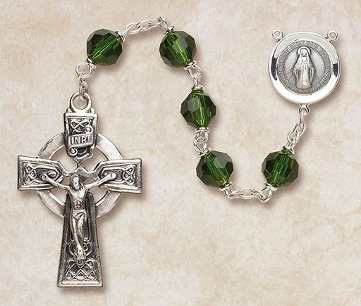 7MM Emerald Crystal Rosary-Sterling Silver