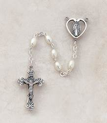 3MM Faux Pearl Rosary-Sterling Silver
