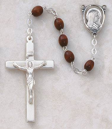 5MM Dark Brown Wood Rosary-Sterling Silver