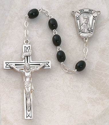 5MM Black Wood Rosary-Sterling Silver