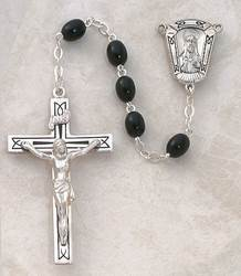5MM Black Wood Rosary-Sterling Silver rosary, wood, black,  silver, premium, high end rosary, SP8bl