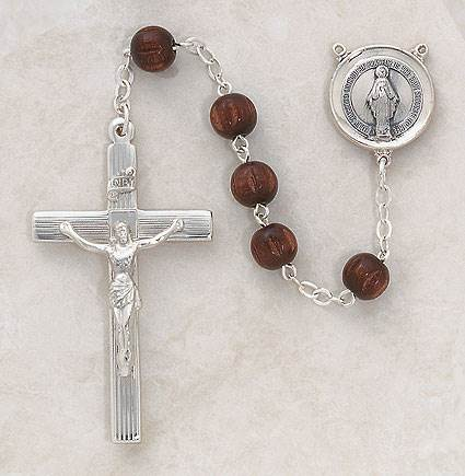 8MM Brown Wood Rosary-Sterling Silver