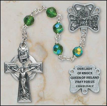6MM Czech Emerald Crystal Rosary rosary, crystal, emerald,green, irish,  silver,SO16EM7644KNK