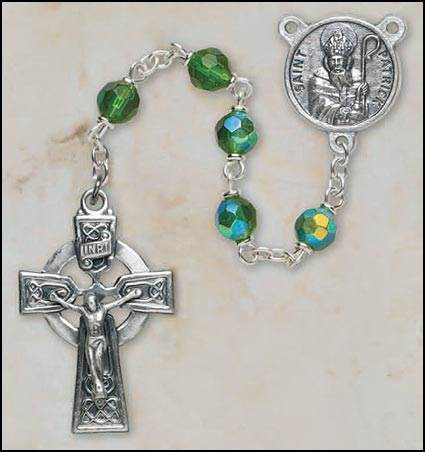 6MM Emerald St. Patrick Rosary rosary, crystal, emerald,green, irish,  silver,SO16EM7644SP