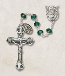 6mm Emerald Crystal Rosary