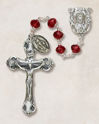 6MM Crystal Ruby Rosary rosary, red, ruby bead,  crystal bead, metal rosary, SO68RU173D
