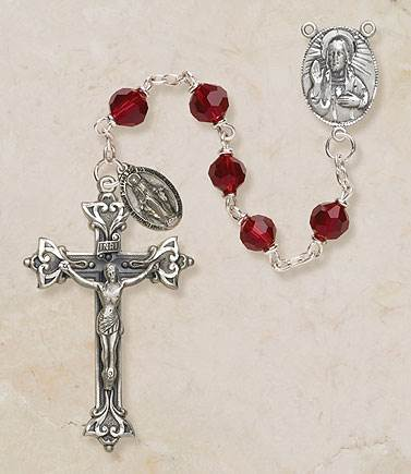 7MM Ruby Crystal Rosary