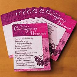 """Courageous Woman"" Prayer Cards*WHILE SUPPLIES LAST* 56711C,prayer cards, cancer prayer, breast cancer, woman gift, laminated card, inspirational card"