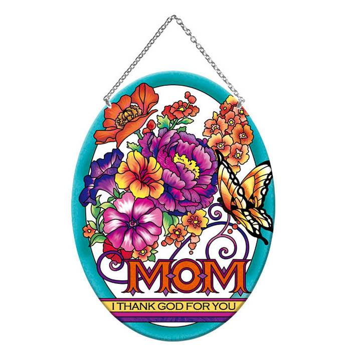"9"" Mom and Flowers Suncatcher suncatcher, window decor, home decor, inspirational message, oval suncatcher, mom, floral, mothers day gift, LO310R"