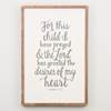 For this Child I have Prayed Framed Board baby gift, home d?cor, baby, new baby, baby shower, childs room, wall d?cor, wall canvas, hanging canvas,3590003
