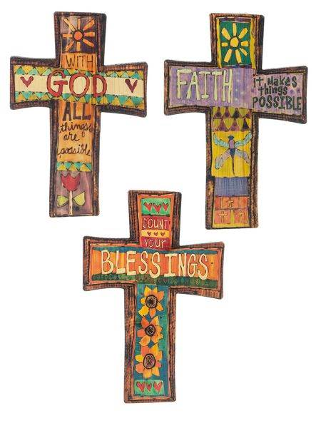 Assorted Painted Peace Cross Plaques cross plaque, wall plaque, hanging cross, colorful cross, message cross,ER44207