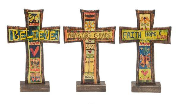 Assorted Painted Peace Cross Figures cross plaque, wall plaque, hanging cross, colorful cross, message cross,standing cross, cross figures,ER44208