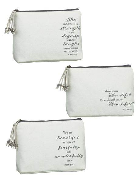 Assorted Scriptue Cosmetic Bags
