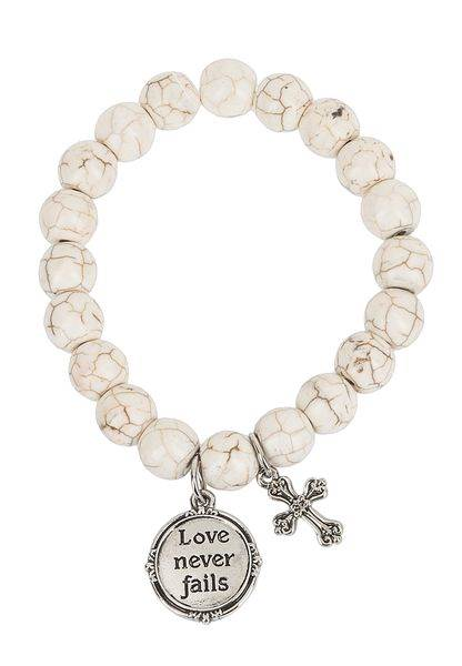 Love Never Fails Bracelet Scripture
