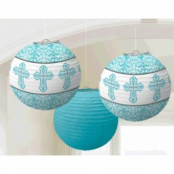 "9.5""Blue Cross Lanterns"