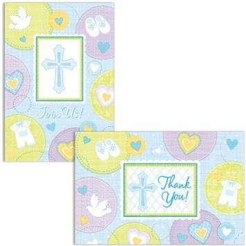 Sweet Christening Blue Invitations and Thank You Cards