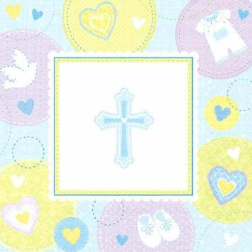Christening Beverage Napkins Blue