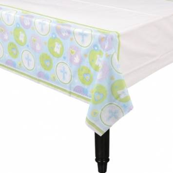 Christening Blue Plastic Table Cover