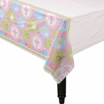 Christening Pink Plastic Table Cover